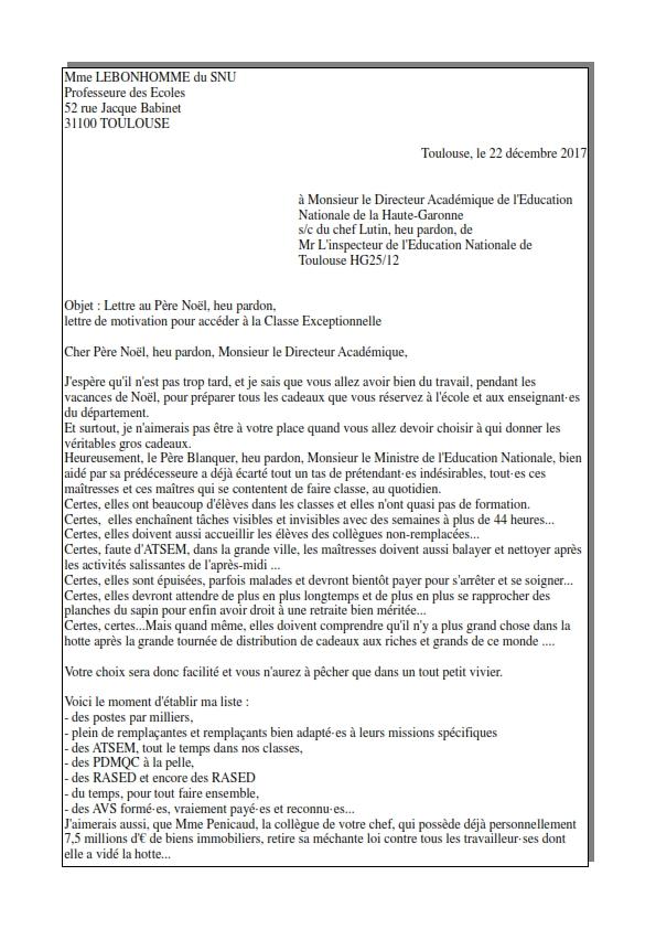 Lettre de motivation exceptionnelle - SNUipp-FSU 31